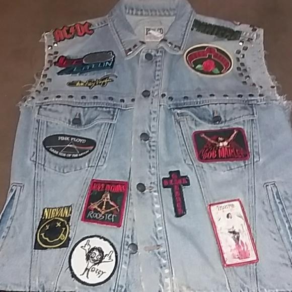 low priced 29c76 3a5ae Vintage custom denim vest with rock design